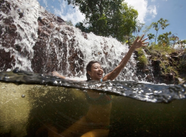 Ryoko Jones at Litchfield Park - swimming in a rock pool and at Florence Falls