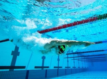 Swimmer Giorgio Romano enjoys himself at Parap Pool, Darwin