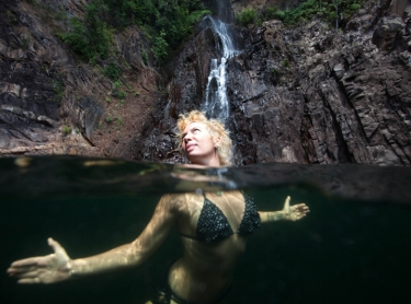Women who get wet exhibition - Mel Balkan at Sandy Creek Falls