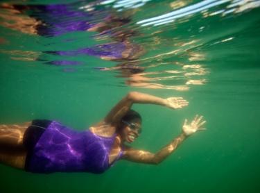 Emma Cameron at the waterfront lagoon in Darwin