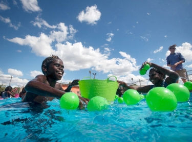 Mark Walker from Swimming NT & Swimming Australia, along with Peter Tonkin, take swimming lessons and water safety to remote indigenous communities in the NT