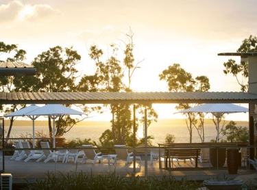 Dugong Beach resort at Groote Eylant, northern Australia. Luxury tourist accommodation indigenous business aboriginal culture