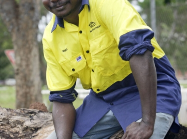 Tiwi forestry graduation. Ceremony to mark the graduation of Tiwi workers, at Nguiu. Tiwi forestry worker Noel Galarla