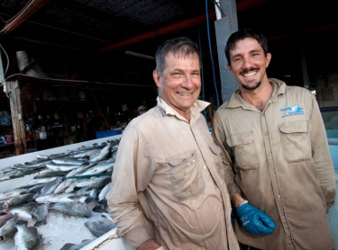Humpty Doo Barramundi Farm produces top quality barramundi in ponds with water from the Adelaide River. The fish is harvested, graded and shipped to Darwin and interstate for use in restuarants and by chefs. Bob (left) and Dan Richards sorting fish ast Humpty Doo Barramundi