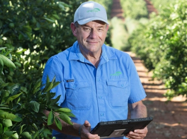 Croplogic agricultural services - staff in Mildura: Cedric Geffen and Talitha Gollan. Grape production, almonds and citrus
