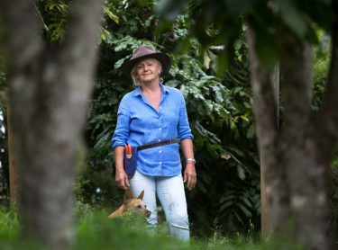 Fingerlime farmers Richard and Rochelle Deaker at McLean's Ridges. Sheryl Rennie of Australian Fingerlime Caviar - among lemon myrtle and Davidson Plum trees