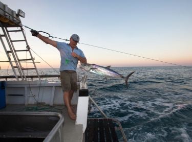 Spanish mackeral fishery offshore Darwin - Norm Hedditch, owner of Rat Patrol, fishing with deckie Aaron Lowjen