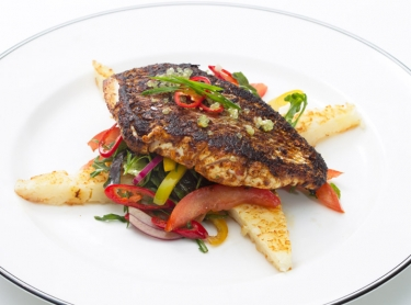 Seafood book - recipes by Steve Sunk. Northern Territory seafood, taken from pristine fisheries in northern waters. Cajun gold band snapper with hash browns
