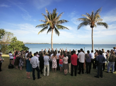 The wedding of Olga and Mason at Pee Wees restaurant, Darwin, northern territory, australia. tropical outdoor wedding ceremony marriage water sea beach 621458 Photographer: David Hancock. Copyright: SkyScans