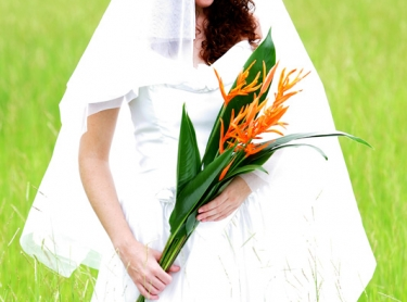 Candice the bride in a rural setting. ceremony marriage human dress.