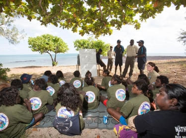 Elcho Island along the Arnhem Land coast - fish traps set by marthakal sea rangers and school children
