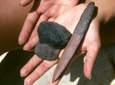 Aboriginal tools, an ironwood knife and a piece of steel adapted to a scraper, or adze, with resin handles. 151658 Photographer:David Hancock/Copyright:SkyScans