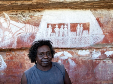Warddeken IPA - Arnhem Land - survey of rock art in the Kunbambuk estate - contact art includes ships - traditional owner John Reid - contact art showing ships and Europeans