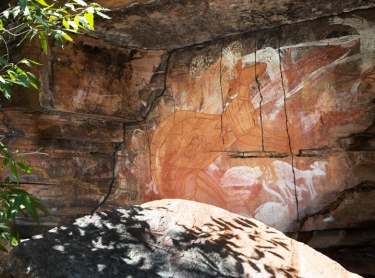 Horse (Djarrang) site at Bannelodd on Bolmo clan country beside Marlkawo creek. (Possibly a david lindsay site). Warddeken IPA Arnhem Land plateau indigenous land management Aboriginal culture indigenous rock art contact images