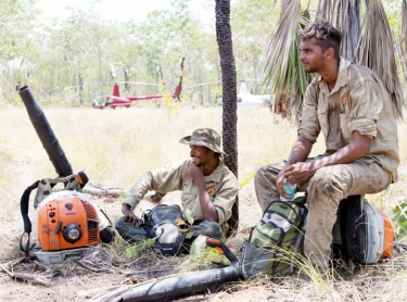 Warddeken Idigenous Protected Area - rangers control a wildfire in the southern area of the IPA, close to Kakadu