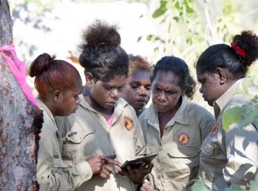 Warddeken daluk (female) rangers travel across Arnhem Land and the Warddeken IPA with scientist Alys Stevens and Co-ordinator Georgia Vallance. Rangers: Elizabeth Narbarlambarl, Marlene Cameron, Asheena Guymala, Amelia Gumurdul, Milly Narborlhborlh, Karen Watson, Lorraine Namarnnyilk, Serina Namarnyilk, Delvina Guymala, Tahnee Nabulwad
