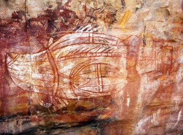 Madjedbebe habitation site has been dated by archeologists to have been occupied for 65,000 years, the longest of any site in Australia  X-ray painting of barramundi