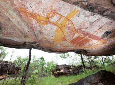 Significant rock art sites from the contact period (between Europens and Aboriginal people) in western Arnhem Land in the Warddeken IPA - stone country Arnhem Land plateau - gun gallery and rainbow serpent