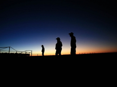 Springvale Station in the Channel country of western Queensland.stock men & women at dawn. beef primary industry Photographer: David Hancock. Copyright: SkyScans