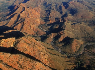 Aerial view of West Macdonnell Ranges, west of Alice Springs.