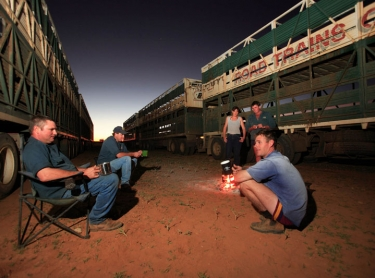 Springvale Station in the Channel country of western Queensland. cattle ready for loading road train drivers take a break. beef primary industry Photographer: David Hancock. Copyright: SkyScans