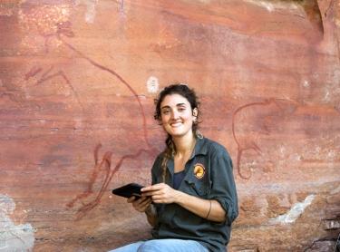 Warddeken Land Management rangers conduct a rock art survey and photograph bim. Directed by Claudia Cialone