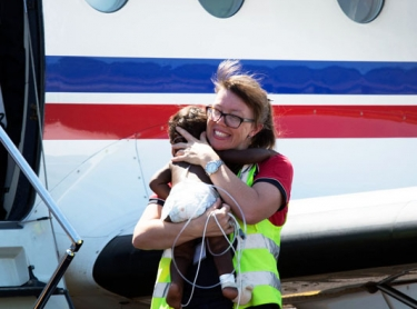 The Royal Flying Doctor Service (RFDS) in Broome. Operations base, aircraft and staff working with patients in Broome and a medical clinic at Yakanarra near the Fitzroy River. Dr Nola McPherson carries ten month-old Marlon Macarthur off a RFDS Pilatus PC-12 aircraft after the baby boy was evacuated from a remote Kimberley community, to Broome.