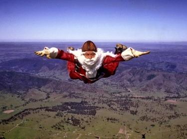santa Claus over outback australia
