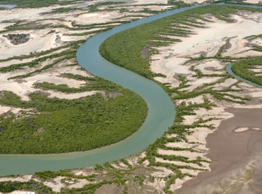 Limmen National Park is situated on the western side of the Gulf of Carpentaria, in the Top End of the Northern Territory. Aerial view of country surrounding the Limmen Bight, Towns and Roper rivers, traditionally owned by the Marra Aboriginal people of the Gulf region