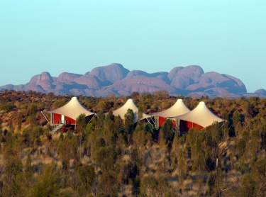 Longitude 131 is an upmarket tourism resort in central australia close to Ayers Rock or Uluru and KataJuta NP red centre Uluru NT. tents and katajuta