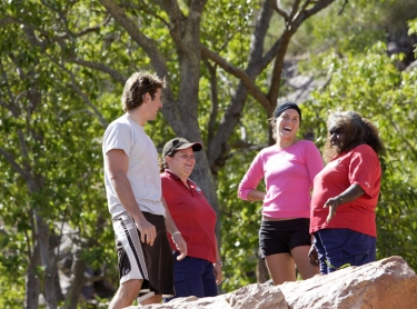 Tourists at Gunlom in southern Kakadu. tourism adventure travel couple water hole escarpment indigenous aboriginal guide IHG Photographer: david hancock. Copyright: SkyScans